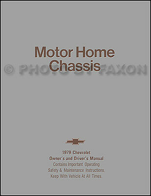 1979 Chevrolet Motor Home Chassis Owners Manual Chevy P30