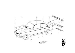 BMW 2002 Genuine OEM Upper Belt-Line Chrome Molding Kit