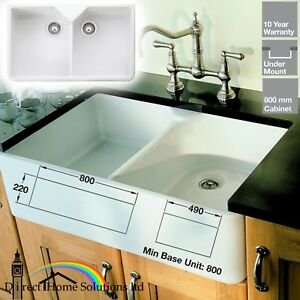 ceramic kitchen sink ikea pull out pantry rangemaster belfast double bowl waste kit image is loading amp