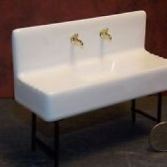 Porcelain Kitchen Sink Built In Table Dollhouse Miniature 1920 S Kit Ebay 1 12 One Inch Scale Y6
