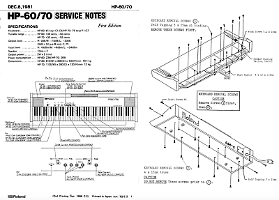 Roland hp-60. hp-70 Schematic Diagram Service Notes Manual