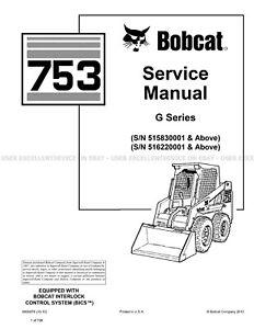 Bobcat 753 G Series 2012 Update Skid Steer Loader Printed