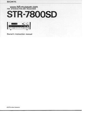 Sony STR-7800SD Amplifier / Receiver Owners Instruction