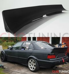 bmw e36 sedan saloon ducktail wing spoiler perfect fitment for drift and stance cliqtuning [ 1200 x 1200 Pixel ]