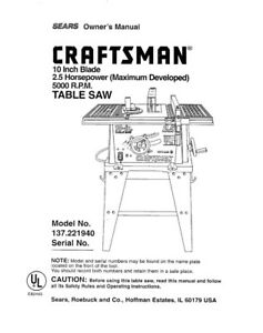 Craftsman 137.221940 Table Saw Owners Instruction Manual