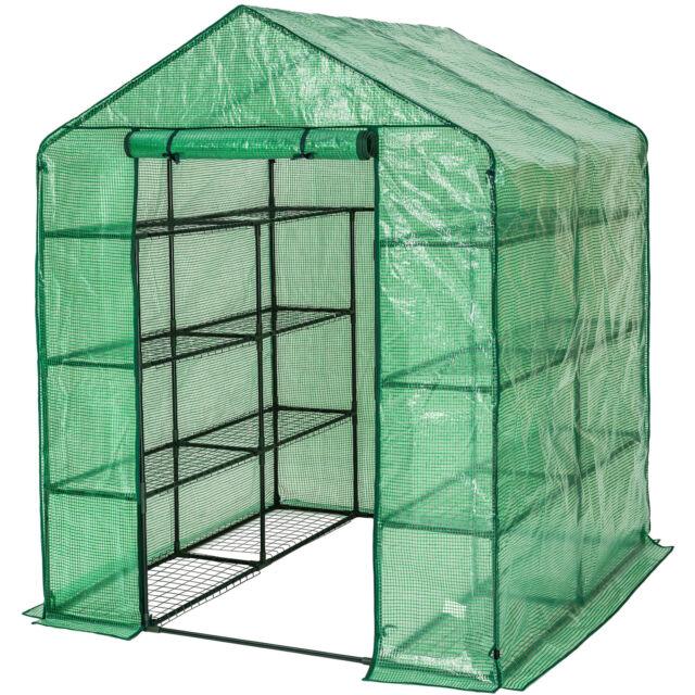 serre de jardin serre de jardinage abri de jardin avec bache armee souple 16 etageres 143 cm x 143 cm x 195 cm vert tectake