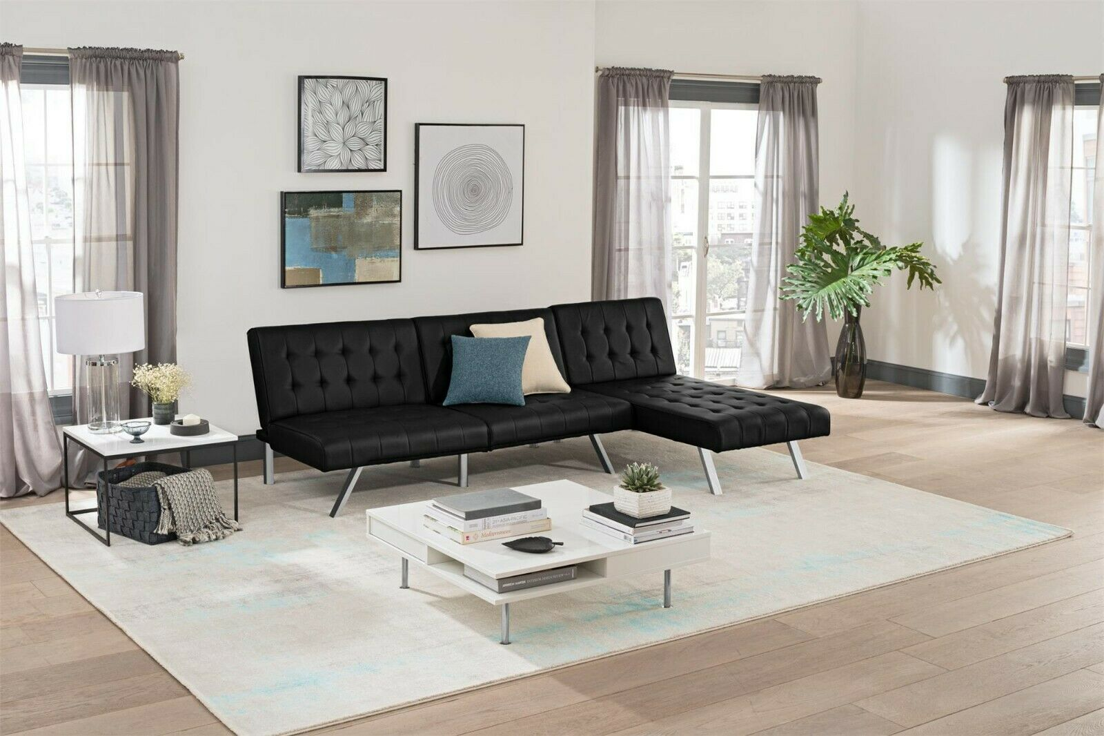 Sofa Sleeper Sectional Chaise Lounge Faux Leather Bed Convertible Futon Couch