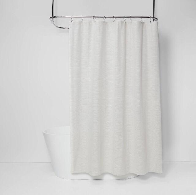 threshold cream slub shower curtain solid textured