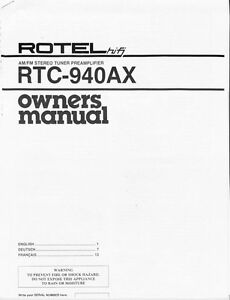 Rotel RTC-940-AX Tuner Owners Manual