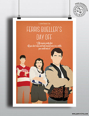 ferris bueller minimalist 80 s poster by posteritty design john hughes ebay
