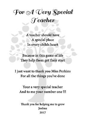 A4 Personalised poem for Teacher / Teaching Assistant, End