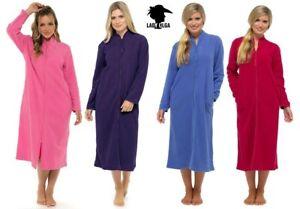 Femmes Doux Confortable Chaud Polaire Fermeture Eclair Robe De Chambre Zippee Robe Peignoir 10 To 28 Ebay
