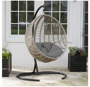 hammock chair with stand folding job lot egg indoor outdoor wicker hanging patio swing cushion details about