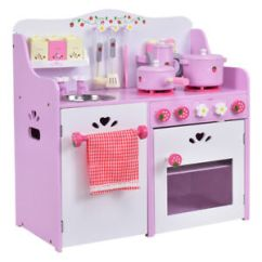 Toddler Play Kitchens Kitchen Appliance Covers Kids Wooden Set Toy Strawberry Pretend Cooking Playset Image Is Loading