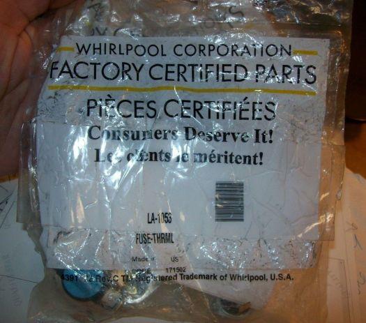 s l1600 - Appliance Repair Parts WHIRLPOOL FACTORY CERTIFIED PARTS- HI LIMIT THERMOSTAT KIT PART # LA1053