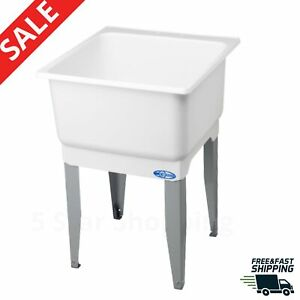 details about laundry tub sink floor mount 23 x 25 in utility plastic indoor outdoor wash