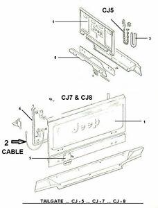 JEEP CJ7 CJ8 Scrambler Tailgate Cable OEM Quality 1976
