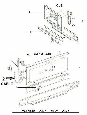 2, TWO, A PAIR JEEP CJ7 CJ8 Scrambler Tailgate Cable OEM