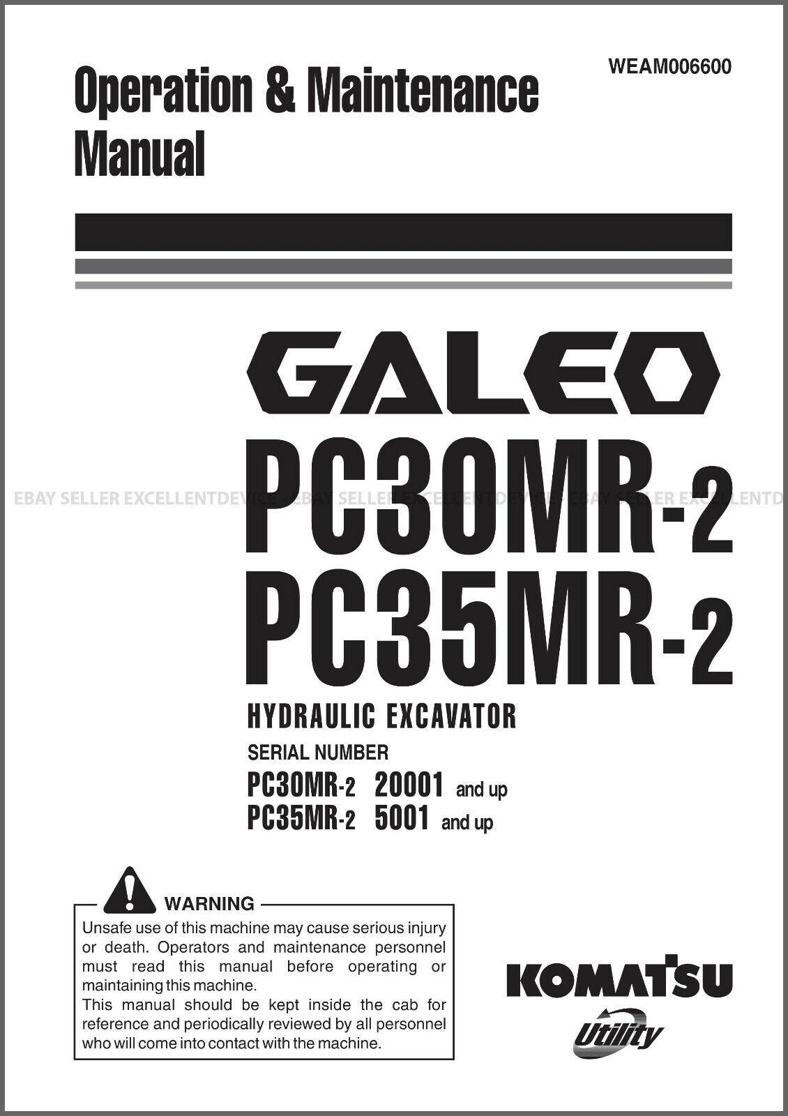 Komatsu Galeo PC30MR-2 PC35MR-2 Printed Operation