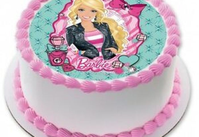 Barbie Edible Kids Birthday Party Cake Decoration Round Topper Image
