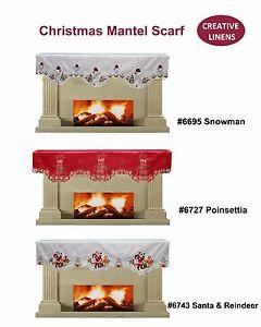 Creative Linens Holiday Christmas Mantel Scarf Snowman