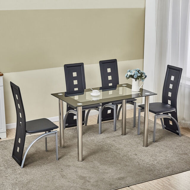kitchen dinette lowes floor tile 5 piece dining table set black glass 4 chairs seats home decor