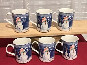 Noritake Epoch Mr. Snowman Christmas Winter Holiday Mugs Coffee Cups Set of 6 | eBay