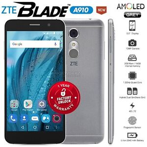 "Unlocked ZTE Blade A910 Grey 5.5"" HD AMOLED 4G LTE Quad Core Android Cell Phone"