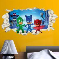 PJ Masks in wall Crack Kids Boy Girls Bedroom Vinyl Decal ...