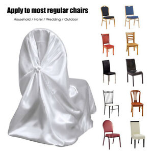 wedding chair covers melton mowbray lounge patio chairs 50 universal satin self tie sash bows party image is loading