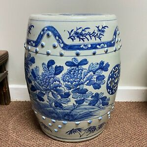 Antique Chinese Blue and White Porcelain Barrel Form Garden Seat
