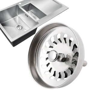 kitchen sink plug hole fitting euro style cabinets basket strainer waste stainless steel image is loading amp