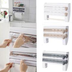 Kitchen Organizer Clocks Cling Film Sauce Bottle Storage Rack Paper Towel Image Is Loading