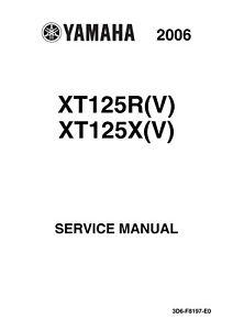 New Yamaha XT125R XT125X V Service Repair Manual 2006 3D6