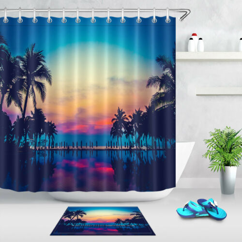 sunset pool coconut tree fabric shower curtain 12 hooks bathroom accessory sets garden curtains patterer shower curtains