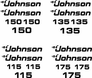johnson 115 135 150 175 outboard decal stickers made in