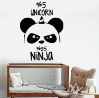 Vinyl Wall Decal Funny Panda Bear Ninja Nursery Unicorn ...