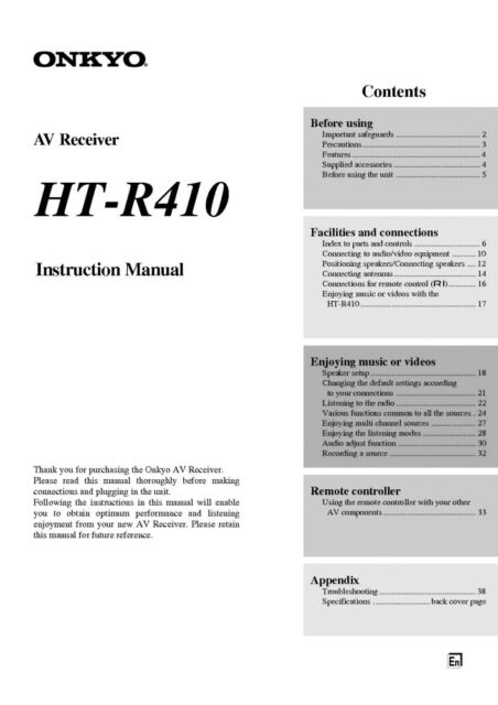 Onkyo Integra HT-R410 Receiver Owners Instruction Manual