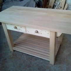 Kitchen Work Station Islans Bespoke Country Workstation Table Island With Solid Oak Image Is Loading