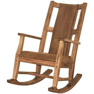 handmade rocking chairs non rolling desk chair rustic distressed brown oak wood microfiber padded seat