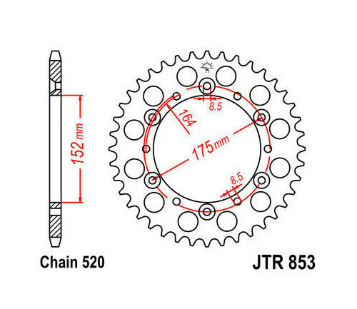JT Steel Rear Sprocket 520 40T Yamaha Blaster 200/Warrior