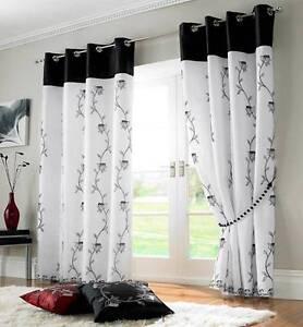 details sur tahiti noir blanc double voile anneau double rideaux a œillets de nombreuses tailles afficher le titre d origine