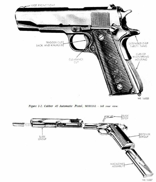 U.s. Army M1911a1 .45 Cal Pistol Service Repair Parts and