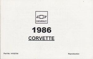 1986 Chevrolet Corvette 5.7L V8 Owner's Owners Manual