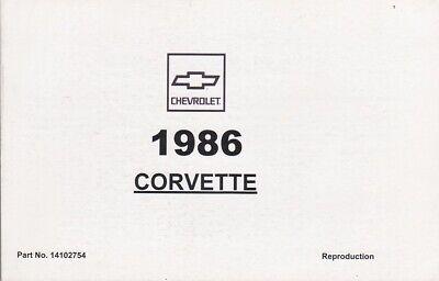1986 Chevrolet Corvette 5.7L V8 Owner's Owners Manual