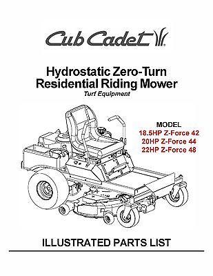 Cub Cadet Hydrostatic ZeroTurn Riding Mower Parts Manual