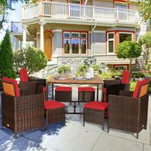 gymax 9pc rattan wicker patio dining