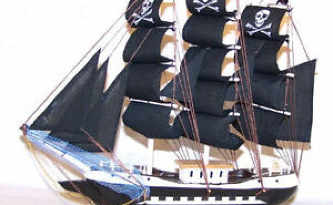 Large 24 In Pirate Wood Ship Wooden Boat Sail Boats Wooden