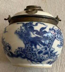 Antique Chinese Dragon Blue And White Pot Jar Vase? Water Pot Jar? Rare Mark