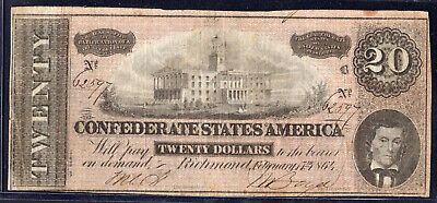 1864 US CSA $20 Civil War Currency Richmond. Virginia - Circulated XF T67   eBay